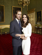 This is one of two official portrait photographs taken on Nov. 25, 2010 in the Council Chamber in the State Apartment in St James's Palace, London and released by Clarence House Press Office on Sunday Dec. 12, 2010  to mark the engagement of Britain's Prince William, left, and Catherine Middleton, right. Poor Kate Middleton. She's not just marrying a future king. She's marrying all of us. Once upon a time, British subjects gazed upon their sovereigns from afar. Not any more. Members of the royal family are now Hollywood-style mega-celebrities _ their cellulite, receding hairlines and boozy nights out subject to the same relentless scrutiny as other A-listers. The monarchy has gained in star power, and perhaps lost in dignity, since William's mother, Princess Diana, burst into the royal family in a blonde blaze of charisma and changed it forever. (AP Photo/Clarence House Press Office/Copyright 2010 Mario Testino, ho).