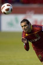Steve Griffin  |  The Salt Lake Tribune  Fabian Espindola dives for the ball as Real Salt Lake faces CF Monterrey at RioTinto Stadium Wednesday, April 27, 2011