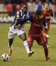 Steve Griffin  |  The Salt Lake Tribune  Walter Ayovi (20) and RSL's Javier Morales (11) fight for control of the ball as Real Salt Lake faces CF Monterrey at RioTinto Stadium Wednesday, April 27, 2011