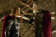 Chris Hemsworth (left) plays the Norse god Thor, confronted by his father Odin (Anthony Hopkins), in
