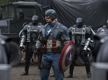 Courtesy Marvel Studios Captain America (Chris Evans) is surrounded by Hydra soldiers in