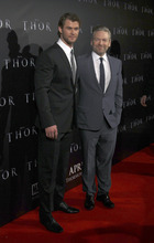 Director Kenneth Branagh, right, and Chris Hemsworth arrive at the world premier of