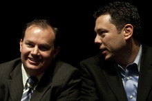 Photo by Chris Detrick | The Salt Lake Tribune  U.S. Senator Mike Lee talks with U.S. Representative Jason Chaffetz during the annual Utah County Republican Party convention at Maple Mountain High School  Saturday April 30, 2011.  A resolution seeking to repeal a guest worker immigration bill signed by the governor earlier this year passed narrowly at the Utah County Republican Organizing Convention.