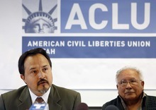 TRENT NELSON  |  The Salt Lake Tribune Octavio Villalpando, left, and Archie Archuletta answer questions at a news conference at ACLU of Utah headquarters. The American Civil Liberties Union and the National Immigration Law Center were joined by Archuletta, a member of the Utah Coalition of La Raza, in filing a suit in federal court against Gov. Gary Herbert and Utah Attorney General Mark Shurtleff over Utah's enforcement-only immigration law Tuesday -- just days before it is scheduled to go into effect.
