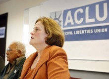 TRENT NELSON  |  The Salt Lake Tribune Karen McCreary, executive director of the ACLU of Utah, and Archie Archuletta discuss the lawsuit Tuesday.
