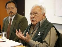 TRENT NELSON  |  The Salt Lake Tribune Dr. Octavio Villalpando, left, and Archie Archuletta answer questions Tuesday.