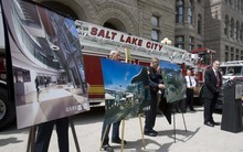 Paul Fraughton  |  The Salt Lake Tribune    Renderings of the new public safety building for Salt Lake City were unveiled on  Friday,  May 6, 2011.