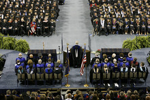 Scott Sommerdorf     The Salt Lake Tribune Utah State President Stan L. Albrecht addresses the graduates at Utah State's Graduation in Logan, Saturday, May 7, 2011.
