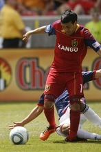 Trent Nelson  |  The Salt Lake Tribune Real Salt Lake's Javier Morales falls with a horrific injury, with Chivas USA's Marcos Mondaini defending on May 7.