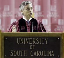 Former U.S. Ambassador to China and former Utah Gov. Jon Huntsman adresses the audience at the commencement ceremony for the University of South Carolina on Saturday, May 7 2011 in Columbia, S.C.  Huntsman, weighing a Republican White House bid, used his first formal event after stepping down as President Barack Obama's ambassador to China to confront the line on his resume that conservatives were mostly likely to declare a deal-breaker. In the high-profile speech to the University of South Carolina, Huntsman said patriotism should trump partisanship and defended his two years in Beijing as the Democratic administration's top diplomat. (AP Photo/Mary Ann Chastain)
