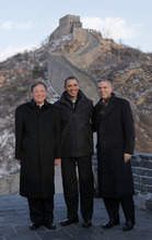 U.S. President Barack Obama, center, poses with China's Ambassador to the United States Zhou Wenzhong, left, and the U.S. Ambassador to China Jon Huntsman Jr. as he tours the Great Wall in Badaling, China, last November. (FILE PHOTO  |  Associated Press file photo)