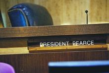 Djamila Grossman     The Salt Lake Tribune  A view of the empty seat of Arizona Senate President Russell Pearce, R-Mesa, on the floor of the Capitol Building in Phoenix, Arizona, on Tuesday, April 19, 2011.