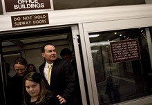 Djamila Grossman  |  The Salt Lake Tribune  Sen. Mike Lee, R-Utah, exits the underground train with his daughter Eliza Lee, coming from his Senate office before being sworn in as a senator on Capitol Hill on Jan. 5.