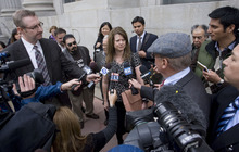 STEVE GRIFFIN  |  The Salt Lake Tribune ACLU attorney Darcy Goddard talks with reporters outside the Frank Moss Federal Courthouse in Salt Lake City on Tuesday following a judge's ruling blocking Utah's immigration enforcement law from taking effect. The temporary restraining order lasts only until a July court hearing.