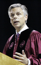 Former U.S. Ambassador to China and former Utah Gov. Jon Huntsman speaks at the commencement ceremony for the University of South Carolina on Saturday, May 7 2011 in Columbia, S.C.  Huntsman, weighing a Republican White House bid, used his first formal event after stepping down as President Barack Obama's ambassador to China to confront the line on his resume that conservatives were mostly likely to declare a deal-breaker.   (AP Photo/Mary Ann Chastain)