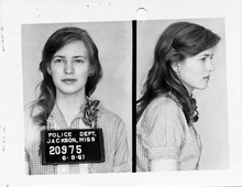 This 1961 file photo provided by the Mississippi Department of Archives and History, shows the booking photo of Joan Trumpauer Mulholland taken after her arrest in Jackson Miss. in 1962 as part of the original Freedom Ride.   Forty college students  will join a handful of the original Freedom Riders on a 10-day journey from Washington, D.C., to New Orleans. Along the way they will stop in a number of cities, including those where the riders were harassed, physically attacked and arrested.   (AP Photo/Mississippi Department of Archives and History, File)