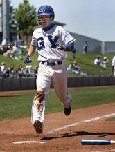 Scott Sommerdorf  |  The Salt Lake Tribune Gunnison Valley catcher Rylan Anderson scores during Gunnison's 13-4 loss to Beaver. Beaver HIgh won the 2A winner's bracket playoff game at Gates Field at Kearns High School, Thursday, May 12, 2011.