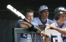 Scott Sommerdorf  |  The Salt Lake Tribune Gunnison Valley catcher Rylan Anderson (left) during Gunnison's 13-4 loss to Beaver. Beaver HIgh won the 2A winner's bracket playoff game at Gates Field at Kearns High School, Thursday, May 12, 2011.
