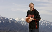 Leah Hogsten  |  The Salt Lake Tribune  Larry Krystkowiak, seen here with the Wasatch Mountains in the background, is the new head coach of the University of Utah men's basketball team.