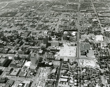 An aerial view of downtown Salt Lake City and Temple Square in the 1960s. Tribune file photo