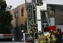 SCOTT SOMMERDORF  |  The Salt Lake Tribune A four alarm fire broke out early Saturday at an unoccupied building near 600 West between 200 and 300 South across from the Intermodal Hub. Fire officials are investigating the cause.
