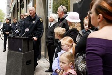 Trent Nelson  |  The Salt Lake Tribune Salt Lake City Police Chief Chris Burbank speaks at the ceremony honoring two Salt Lake City police officers killed in the line of duty in 1924.