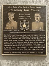 Trent Nelson  |  The Salt Lake Tribune A plaque was unveiled honoring two Salt Lake City police officers, Brigham Honey and William Huntsman, who were killed in the line of duty in 1924.
