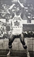 Photo provided by Mr. Mac Utah Stars player Manny Leaks shoots a free throw during an ABA basketball game.