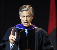 Possible 2012 presidential hopeful, former Republican Gov. Jon Huntsman, Jr., of Utah gives a commencement  address to more than 1,000 students at Southern New Hampshire University, Saturday, May 21, 2011 in Manchester, N.H. (AP Photo/Jim Cole)