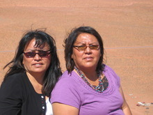 Judy Fahys  |  The Salt Lake Tribune Sisters Mary Helen Begay and Helen Myerson are on Oljato Mesa near the Skyline Mine. Uranium contamination leftover from the mine on the western edge of Monument Valley is being cleaned up by the U.S. Environmental Protection Agency. The women are worried that future generations of Navajos will not understand the radiation hazards in their heritage.
