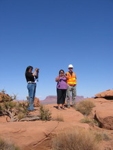 Judy Fahys |  The Salt Lake Tribune Mary Helen Begay, Helen Myerson and Jason Musante discuss the cleanup of uranium contamination leftover from the Skyline Mine on the western edge of Monument Valley.