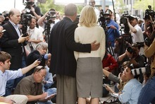Trent Nelson  |  The Salt Lake Tribune Ed and Elizabeth Smart speak to the media Wednesday, May 25, after Brian David Mitchell was sentenced to life in prison for his role in the kidnapping of Elizabeth Smart.