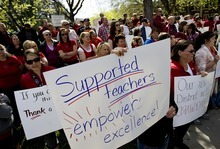 Djamila Grossman  |  The Salt Lake Tribune Ogden teachers protest in front of the Ogden School District offices on Thursday. Ogden teachers have worked the whole school year without a contract.