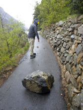 Al Hartmann  |  The Salt Lake Tribune Rocks can fall along the trail to Timpanogos Cave in American Fork Canyon.    The monument has made many safety improvements along the steep 1.5-mile trail leading to the cave in several dangerous areas in the wake of recent falls over the past few years, including the death of an employee last year.  The trail improvements are to be mostly finished this week as the cave opens for the 2011 season May 27.