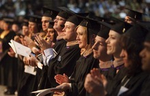 Trent Nelson  |  The Salt Lake Tribune Graduates applaud as Jaimee Joy Allred is honored with the Neisen R. Bank Memorial Award at Westminster College's Commencement Exercises at the Maverik Center in West Valley City, Utah, on Saturday.