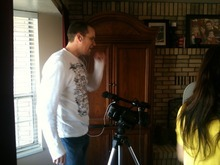 A behind-the-scenes moment in the making of the YouTube sensation,