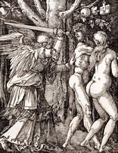 Adam and Eve are depicted in this woodcut from 1510 called