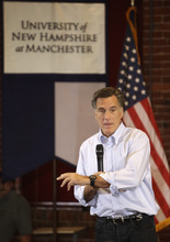 Stephan Savoia | The Associated Press  Republican presidential hopeful, former Massachusetts Gov. Mitt Romney speaks during a town hall style campaign event at the University of New Hampshire in Manchester, N.H., Friday, June 3, 2011.