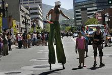 Scott Sommerdorf     The Salt Lake Tribune The Utah Pride parade heads down 200 South, Sunday, June 5, 2011.