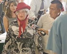Paul Fraughton  |  The Salt Lake Tribune  After her appearance in court  and her sentence of 250 hour of community service, Teresa Bassett is berated by Hispanic Community activist Tony Yapias  Monday,  June 6, 2011.