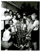 This undated photo shows children at the tennis courts. We think this may be from the No Champs Tennis Tournament sponsored by the The Tribune for a number of years, but there isn't any information with the photo. Tribune file photo