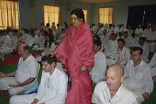 Courtesy photo Amma Karunamayi gives a blessing called shaktipat at her ashram retreat in December 2008 in Penusila, India.