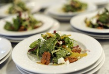Sarah A. Miller  |  The Salt Lake Tribune Radicchio, baby arugula and shaved fennels salad by chef Adam Kreisel for the By Invitation Only dinner held at the Maple Heights Condominium complex in Salt Lake City on May 28. By Invitation Only is an underground restaurant that takes place once a month in Salt Lake City and Park City. Kinnaird sets up a dinner at a different