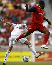 Djamila Grossman     The Salt Lake Tribune RSL's Jean Alexandre and D.C.'s Perry Kitchen jump to gain control of the ball.