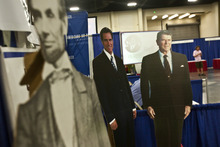 Chris Detrick  |  The Salt Lake Tribune  Cardboard cutouts of Abraham Lincoln, Mitt Romney and Ronald Reagan were at the Utah State Republican Party Convention at the South Towne Expo Center on Saturday.