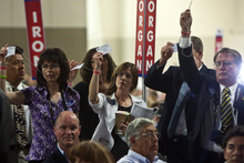 Chris Detrick  |  The Salt Lake Tribune  Keri Witte, center, and other delegates vote in favor of the resolution to repeal HB116 during the Utah State Republican Party Convention at the South Towne Expo Center on Saturday. The vote was 833-739 in favor of the resolution to repeal HB116.
