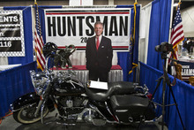 Chris Detrick  |  The Salt Lake Tribune  A cardboard cutout of Jon Huntsman, Jr. at the Utah State Republican Party Convention at the South Towne Expo Center on Saturday.