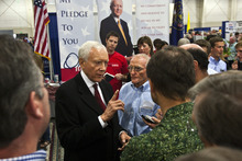 Chris Detrick  |  The Salt Lake Tribune  Sen. Orrin Hatch talks to supporters during the Utah State Republican Party Convention at the South Towne Expo Center on Saturday.