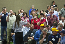 Chris Detrick  |  Tribune File Photo  Delegates at the June 18 state Republican Convention approved a resolution to repeal the guest worker law. The vote was 833-739 for the anti-HB116 resolution. Delegates also elected two party dissidents to GOP leadership positions.