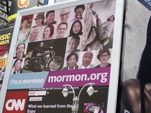 The LDS Church's new ad campaign in New York City's Times Square. Courtesy Carolyn Richards